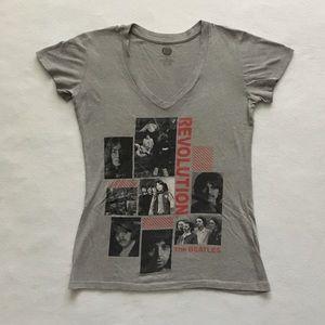 The Beatles Revolution Apple V-Neck Gray Shirt L